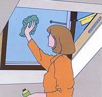 ניקוי חלון גג